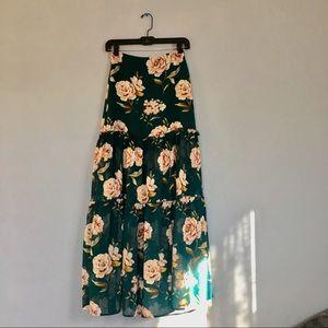 Forever 21, blue floral boho maxi skirt